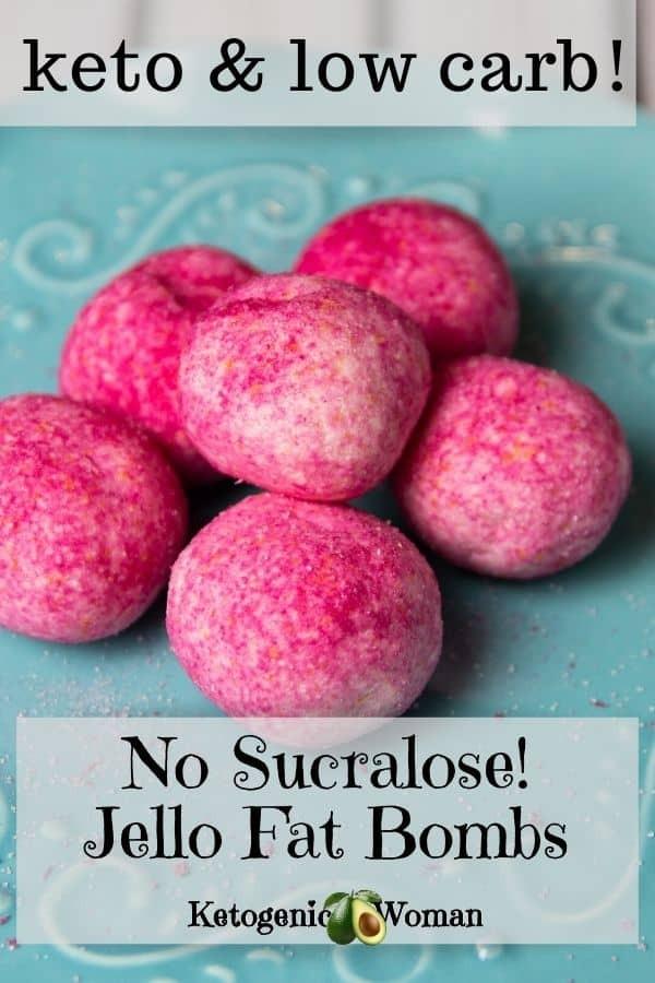 Pinterest graphic for non sucralose jello balls