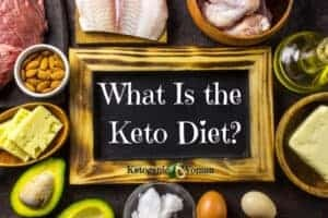 Text on a sign with keto foods