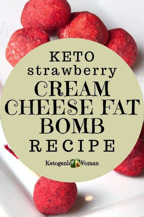 Strawberry Cheese Cake Cream Cheese Fat Bomb Pinterest Pin graphic