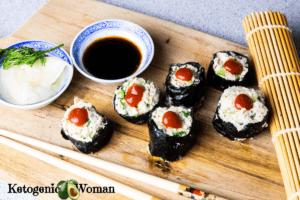 Spicy tuna rolls on wooden platter