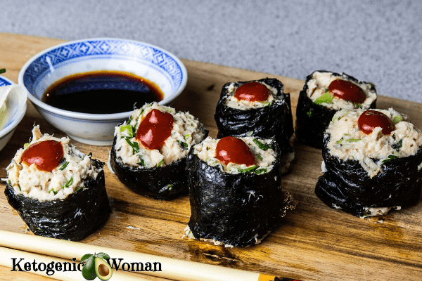 spicy tuna rolls closeup with soy sauce