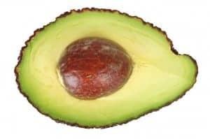 A close up of a cut avocado