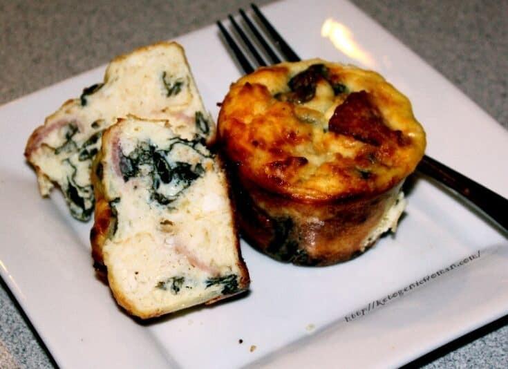 Keto Feta Spinach Muffins on white plate