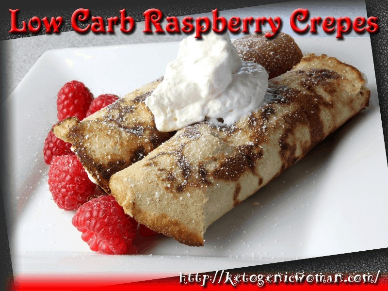 Raspberry crepes on a plate