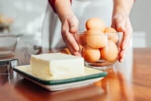 eggs and butter in kitchen