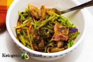 Bacon Broccoli Crackslaw in white bowl
