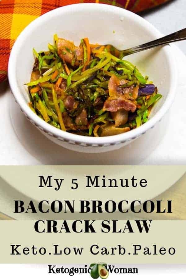 Fast and easy keto low carb bacon broccoli crack slaw recipe