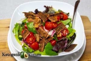 Keto BLT salad in white bowl