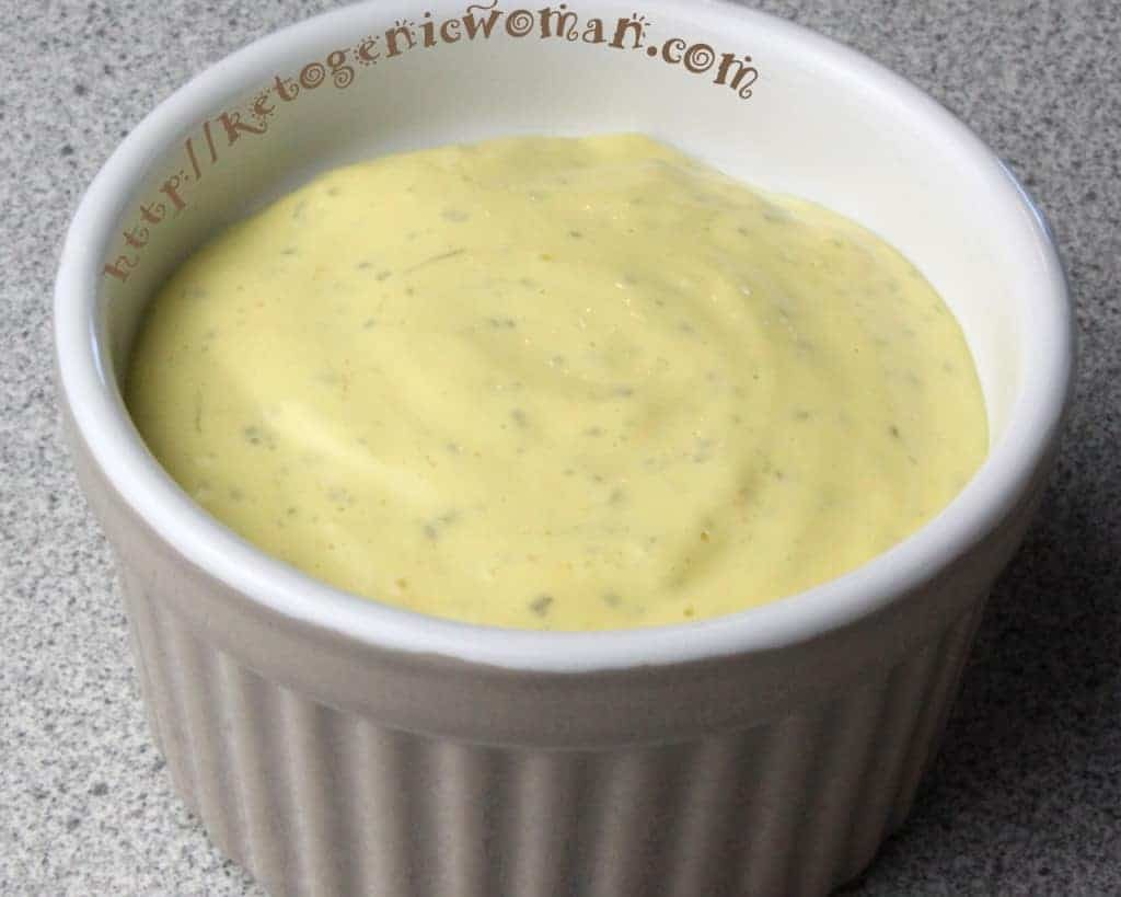 A bowl of dip with Mayonnaise and Avocado oil
