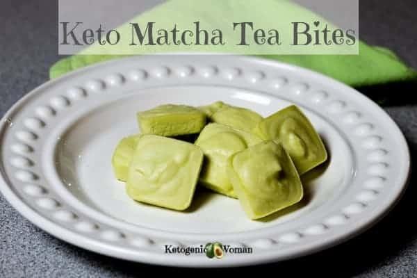 Keto Matcha Cheesecake bites on white plate