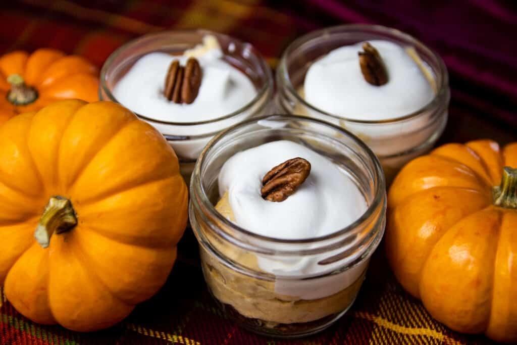 Pumpkin Cheese cake in mason jars
