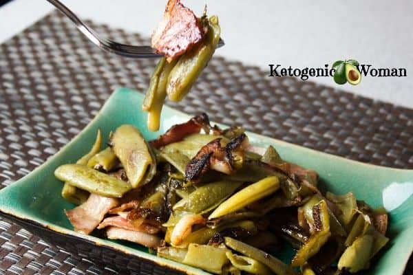 green beans and bacon on a blue dish