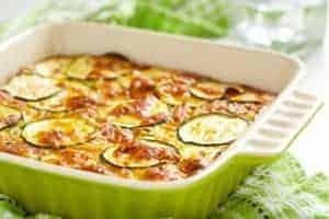 keto zucchini gratin in casserole dish