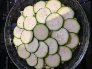 making zucchini gratin casserole