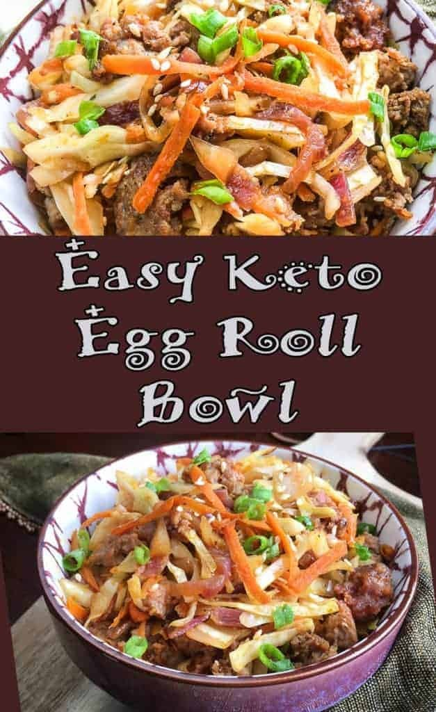 A bowl of food with broccoli, with Egg roll