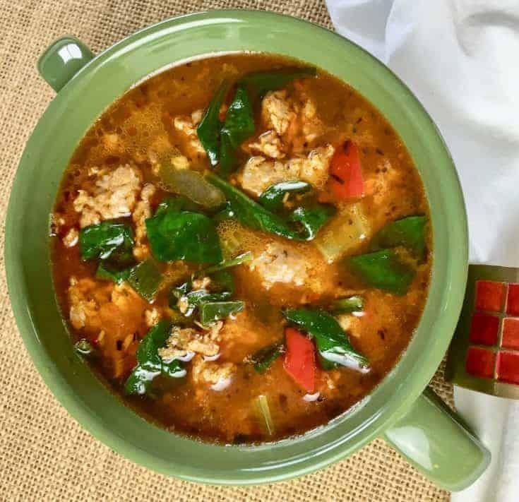Keto Sausage Soup in green bowl