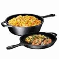 Ultimate Pre-Seasoned 2-In-1 Cast Iron Multi-Cooker ; Heavy Duty 3 Quart Skillet and Lid Set.