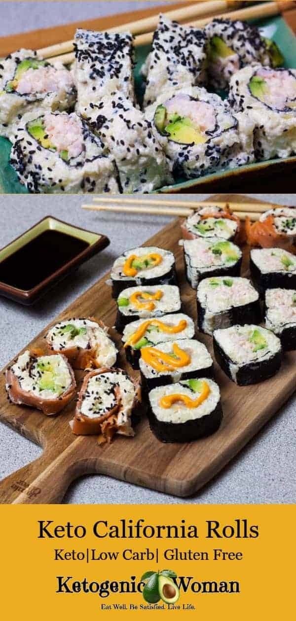 Low Carb Sushi Rolls. Keto California rolls, Low Carb BC Rolls and Low Carb Spicy Tuna Rolls all made with Keto Sticky Rice