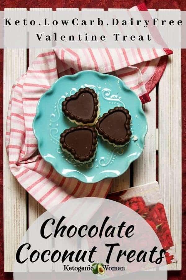 Keto Chocolate coconut Valentine hearts displayed on board