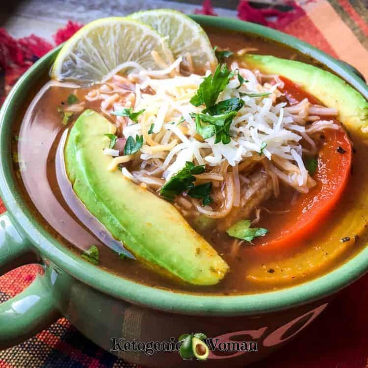 Keto Low Carb Mexican Chicken Fajita Soup Recipe