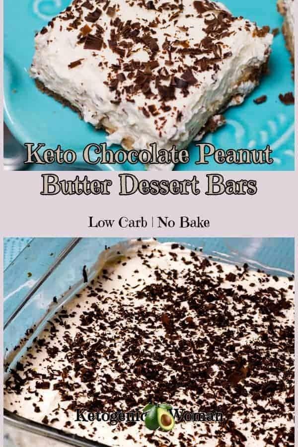 No Bake Keto Low Carb Chocolate Peanut Butter Cheesecake Dessert Bars