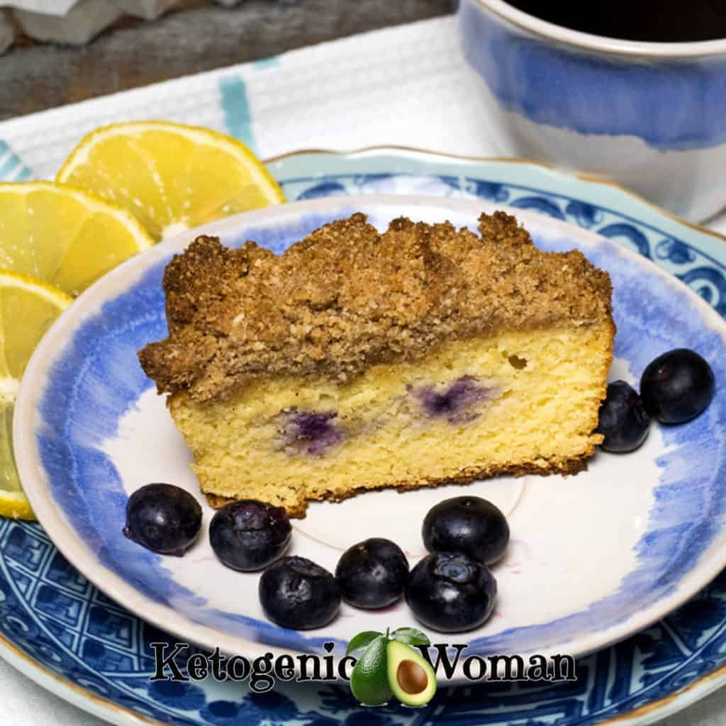 Coffee with Low Carb Lemon Blueberry Coffeecake with a crumb topping