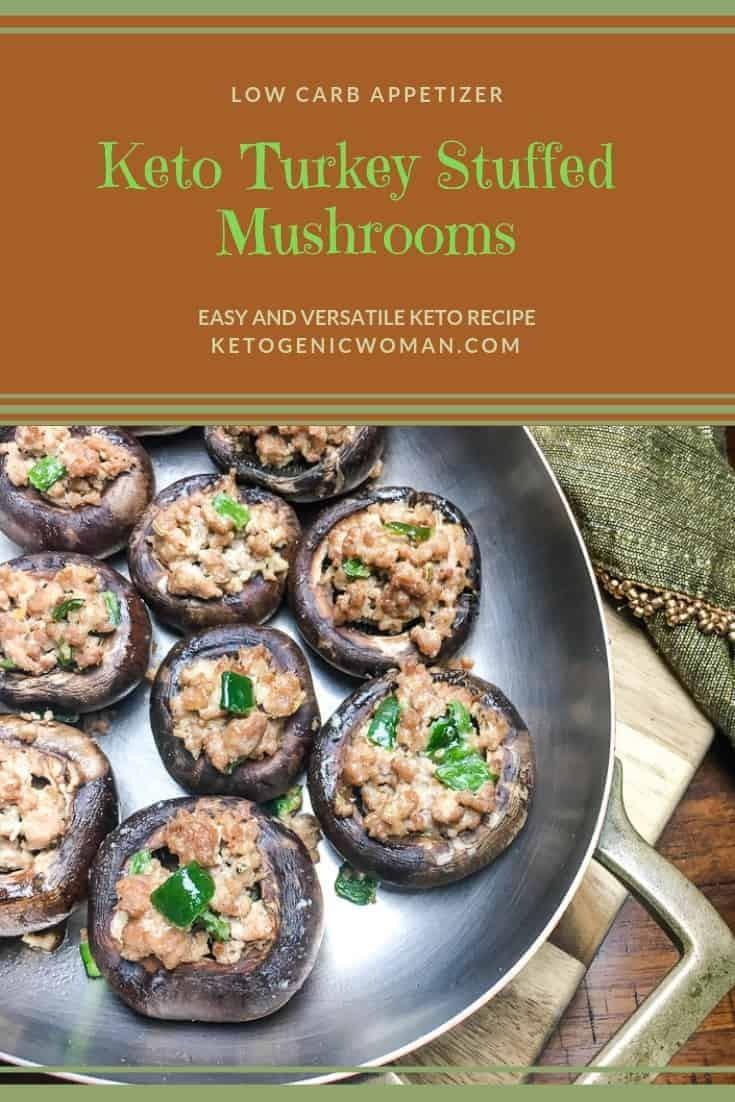 Keto Turkey Stuffed Portobello Mushrooms. Easy low carb dinner or appetizer.