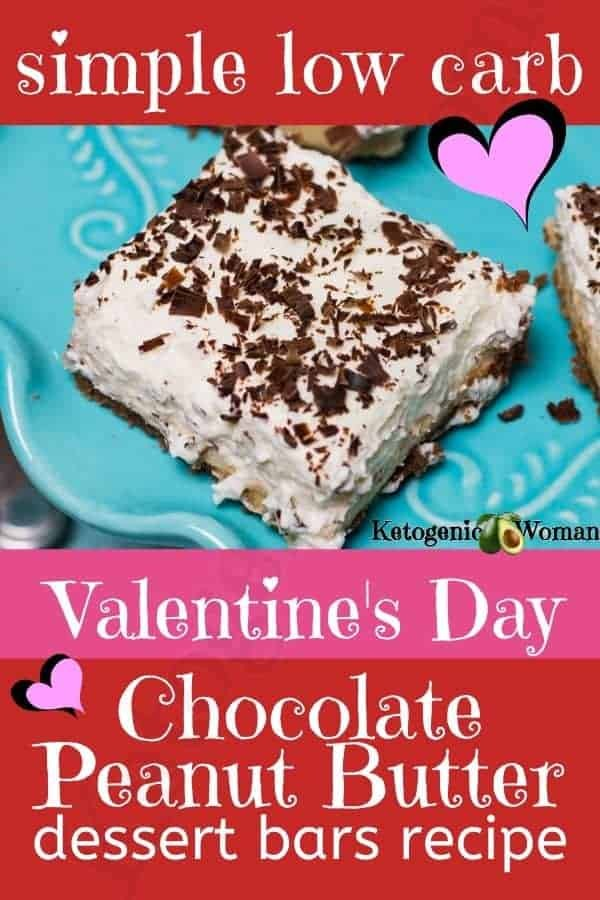 Valentine's day chocolate peanut butter dessert bars recipe