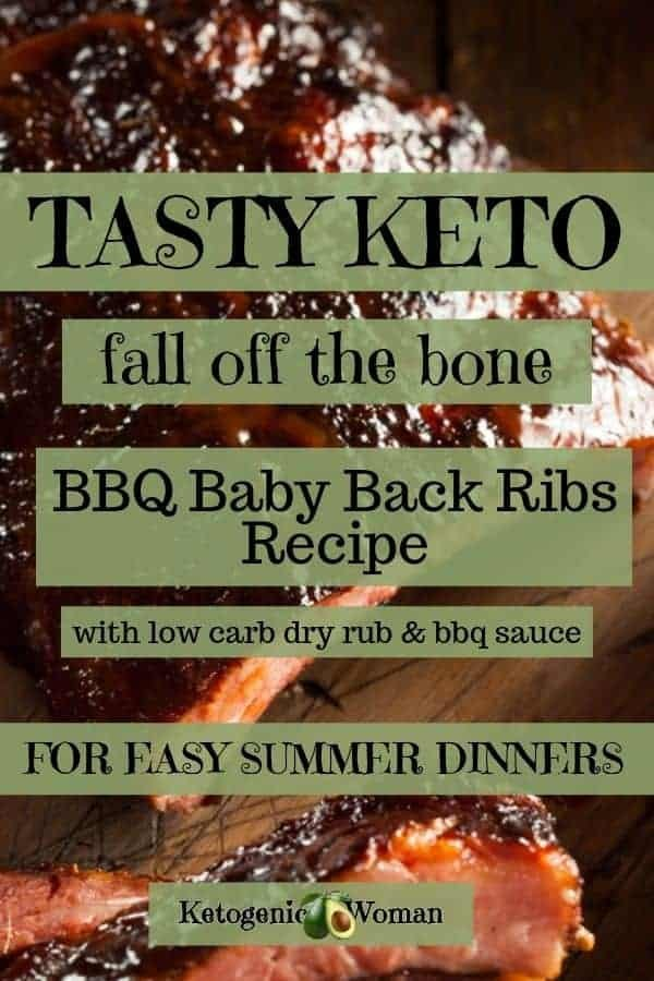 Easy Keto Baby Back Ribs with low carb dry rub and BBQ sauce.