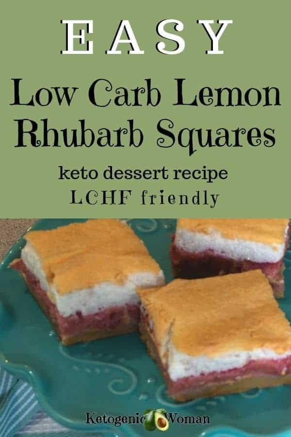 Low carb lemon meringue rhubarb squares, keto dessert recipe that's LCHF friendly.