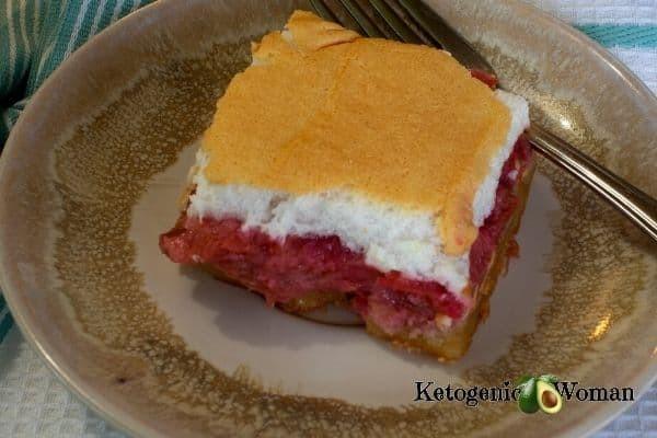 Rhubarb Meringue Slice on plate