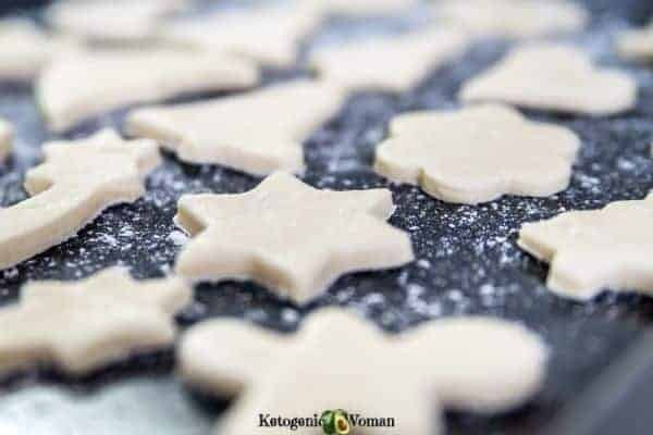 Keto Almond Shortbread on cookie sheet