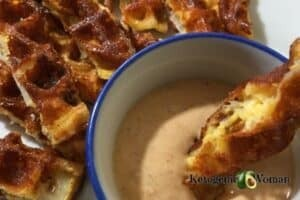 Blooming Onion Chaffle with Dipping Sauce