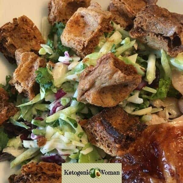 Keto Chaffle Croutons on Salad