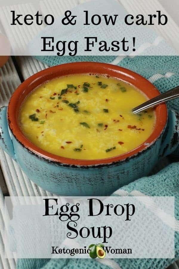 Egg Fast egg drop soup vertical shot
