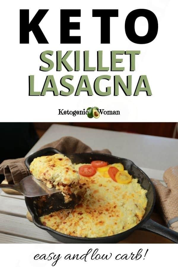 A close up of a lasagna in a cast iron pan