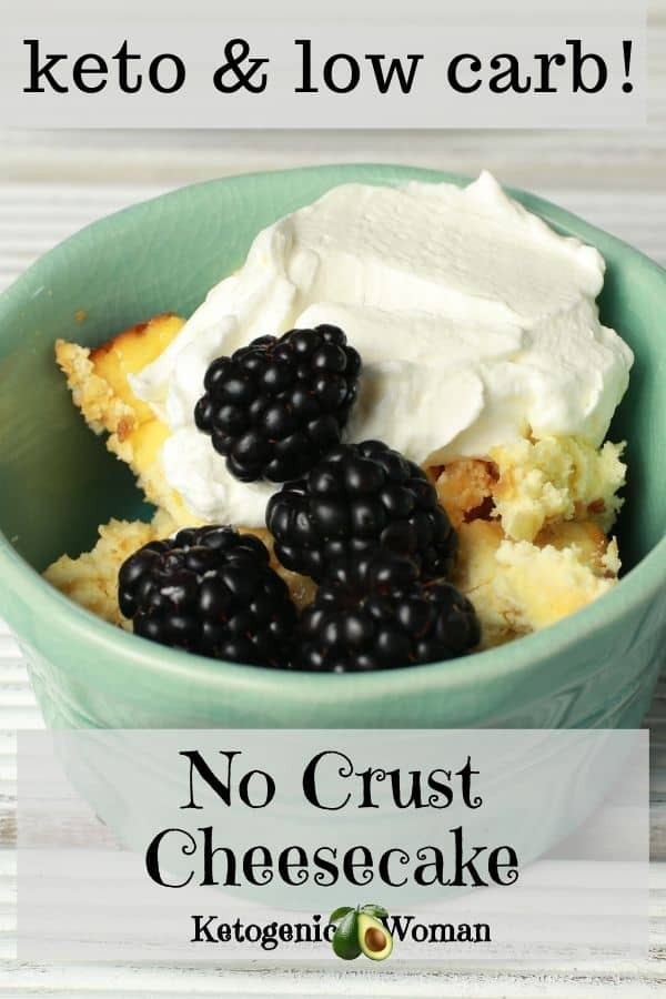 No Crust Cheesecake in bowl with berries and whipped cream