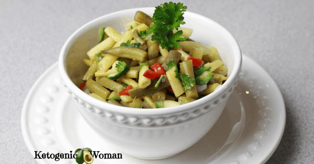 keto bean salad in white bowl