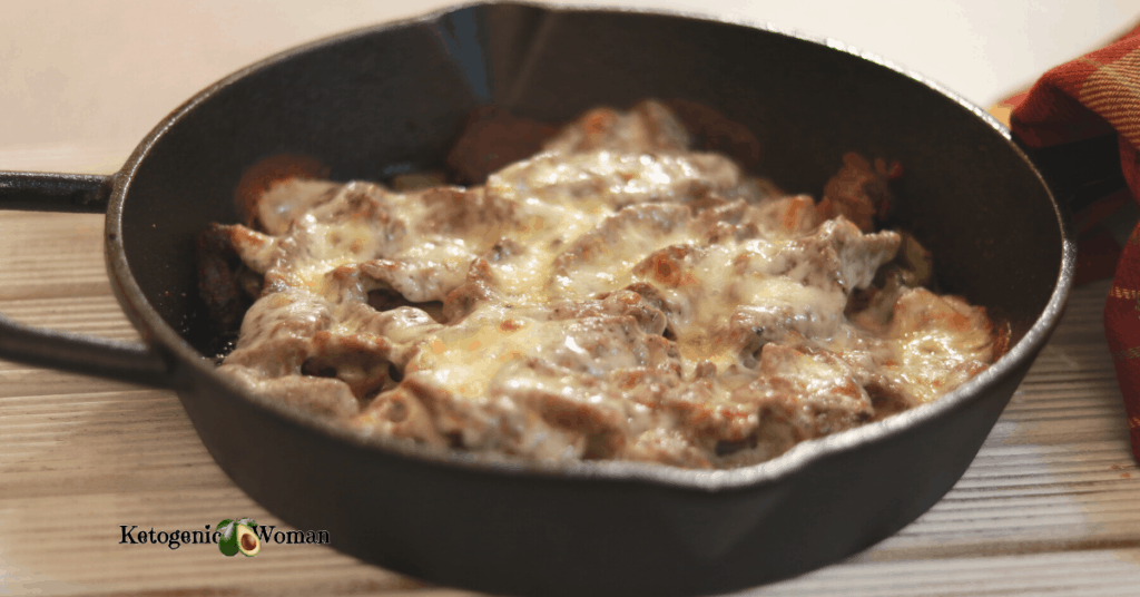 philly cheesesteak in cast iron skillet