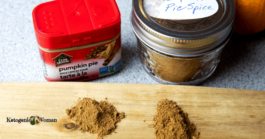 jar of homemade pumpkin pie spice mix next to jar of store bought spice
