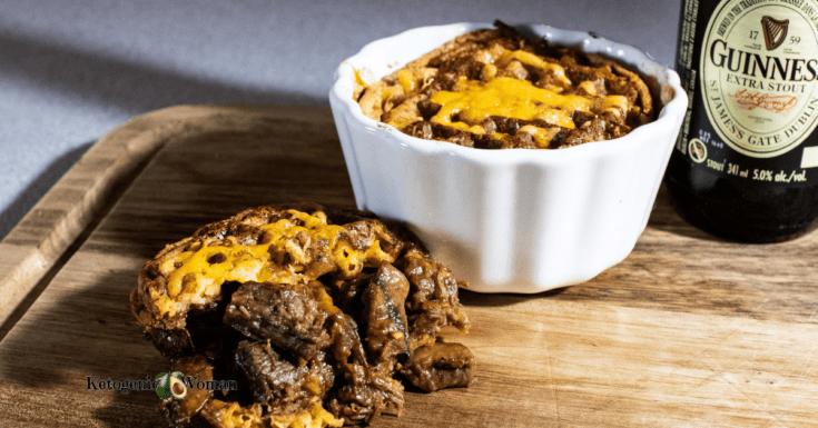 Keto meat pie showing open pie