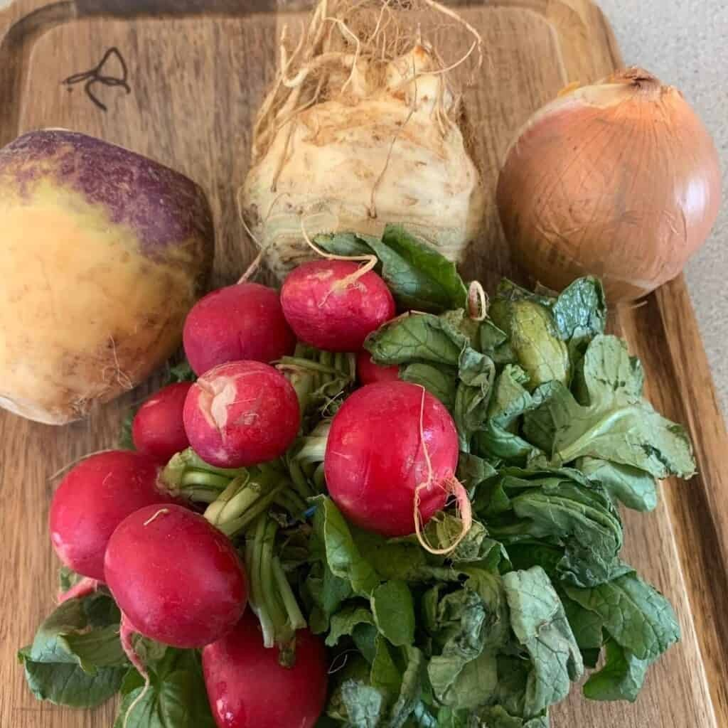 low carb root vegetables on cutting board