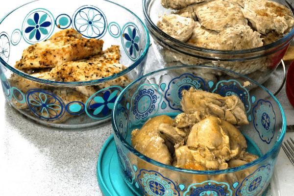 Proteins in storage bowls for PSMF Diet